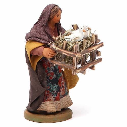 Woman with cages holding two ducks, Neapolitan nativity figurine 10cm s2
