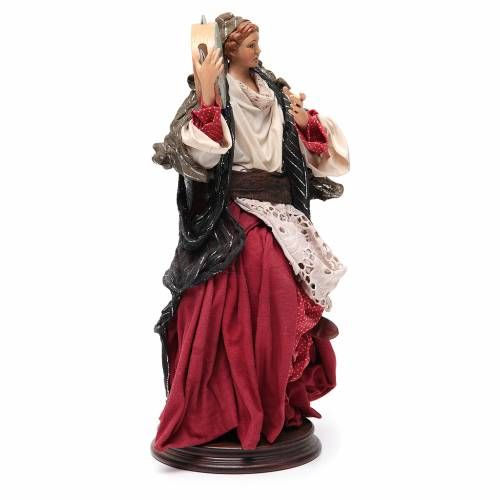 Woman with tamburine for Neapolitan Nativity 30cm s4