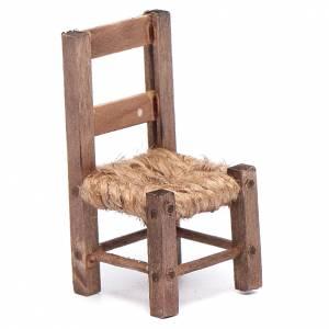 Neapolitan Nativity Scene: Wooden chair and rope 5 cm for Neapolitan nativity scene