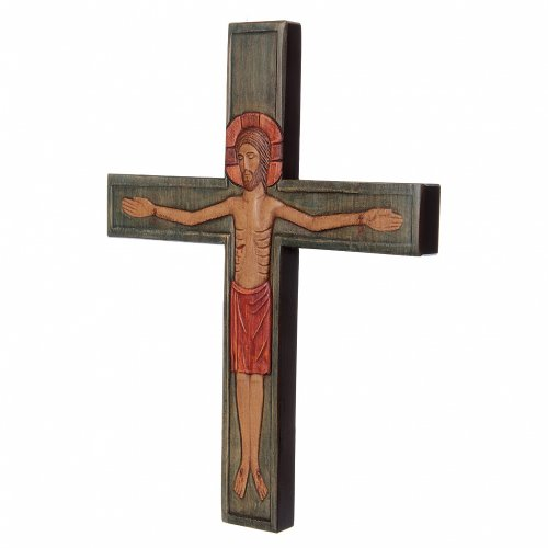 Wooden cross with Christ in relief with painted red mantle s3