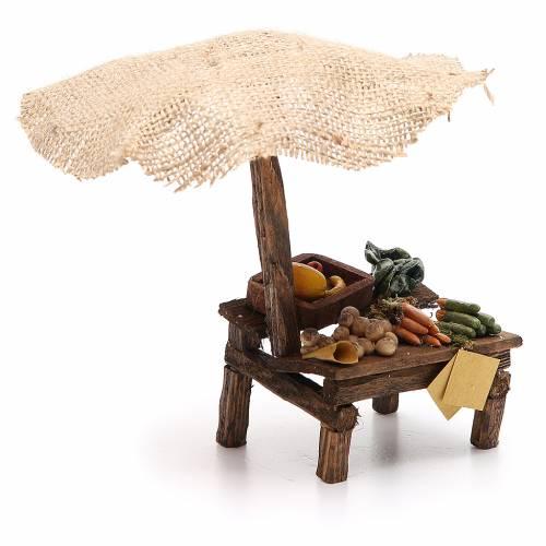 Workshop nativity with beach umbrella, vegetables 16x10x12cm s3