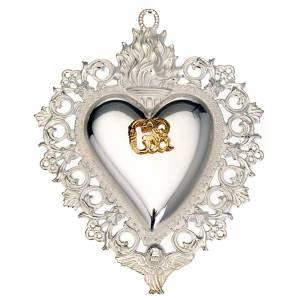 Wota błagalne i dziękczynne: Wotum Serce płomień i anioł 11.5x8.5 cm