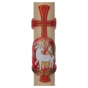 STOCK Paschal Candle in beeswax with lamb and cross 8x150cm s2