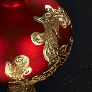 Adorno navidad en forma punta, vidrio decorado rojo y dorado s5