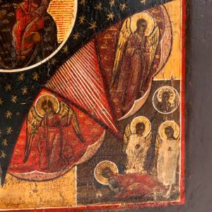 Antique icon 'Our Lady and the burning thorn bush' s4