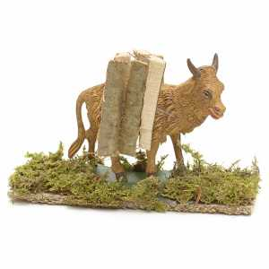 Animals for Nativity Scene: Nativity Scene figurine, ox with fagots 10cm