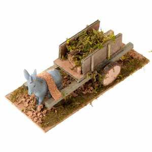 Animals for Nativity Scene: Donkey with cart and grass, Nativity Scene 8cm