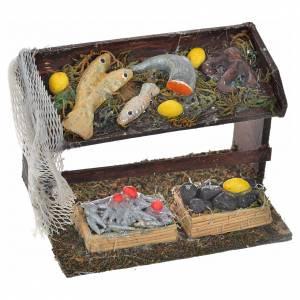 Accessoire crèche comptoir des poissons et filet 4,5x8x5 s1