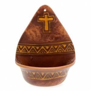 Acquasantiere: Acquasantiera  decoro croce ceramica