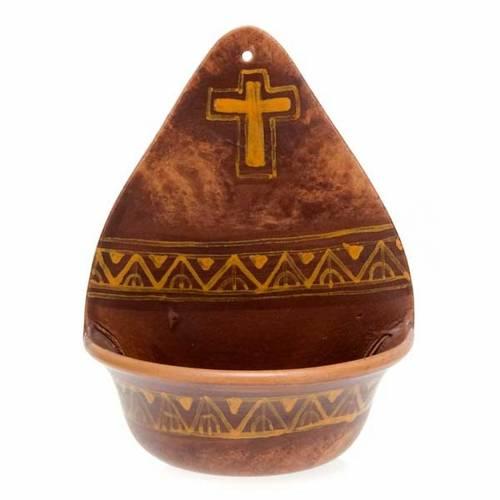 Acquasantiera  decoro croce ceramica s3
