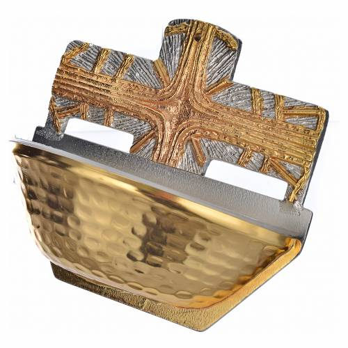 Acquasantiera dorata croce s3