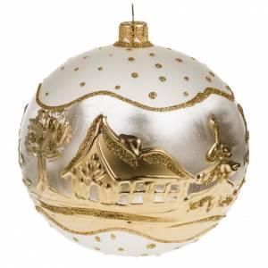 Addobbo albero Natale vetro bianco oro paese neve 12 cm s1