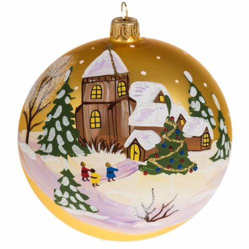 Addobbo albero Natale vetro oro paese neve 12 cm s1