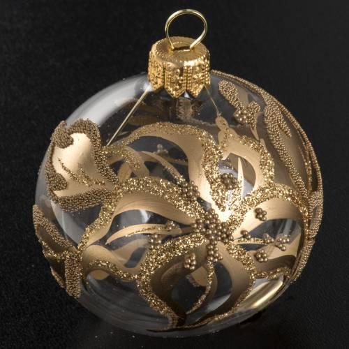 Addobbo albero oro trasparente vetro soffiato diam 6 cm s2