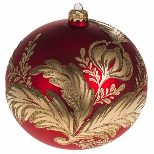 Addobbo albero vetro rosso oro 15 cm s1