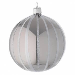 Addobbo Natale palla vetro argento righe 100 mm s2