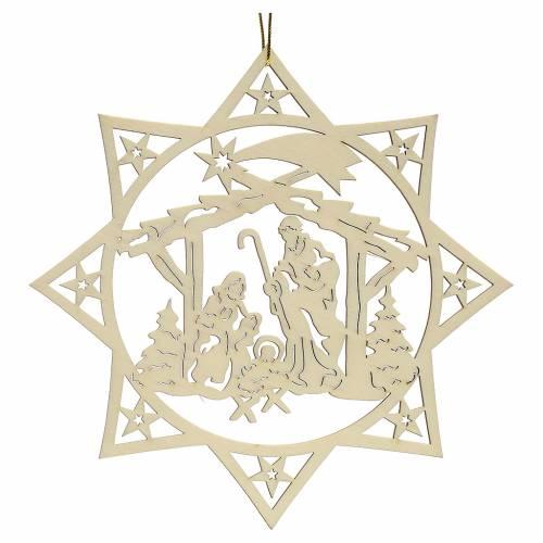 Addobbo natalizio stella albero con presepe legno s2