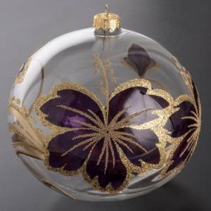Adorno navidad vidrio soplado en  morado y dorado s2