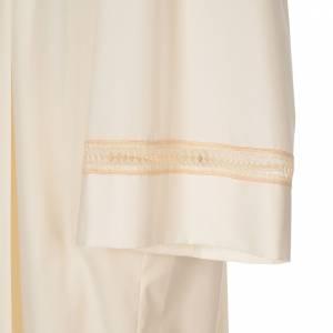 Albas litúrgicas: Alba marfil 65% pol 35% algodón bordado dorado cremallera