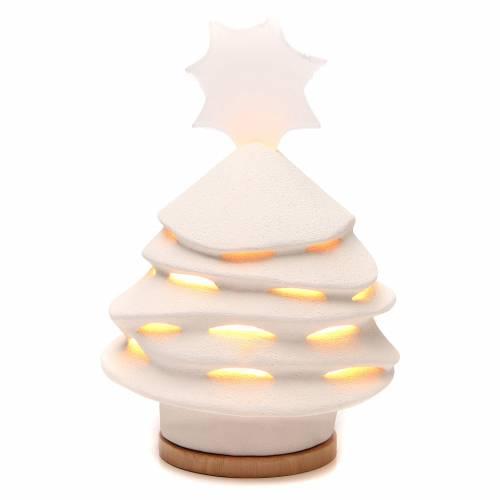 Albero di Natale Ceramica Ave 38 cm argilla illuminato s1