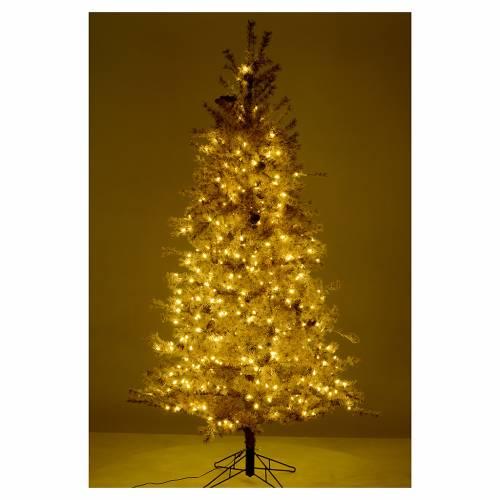 Albero di Natale marrone antico 200 cm brinato e pigne 300 led s5