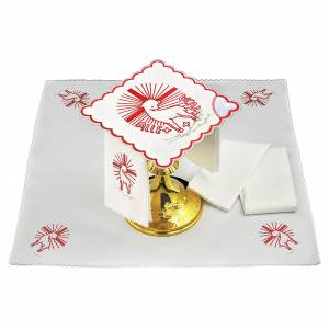 Altar linen red embroideries Agnus Dei s1