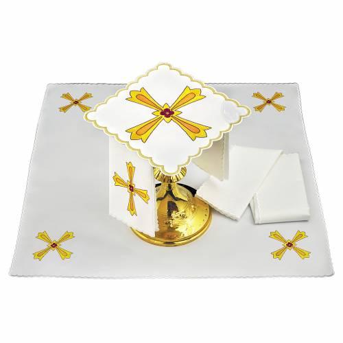 Altar linen yellow orange cross & red flower, cotton s1