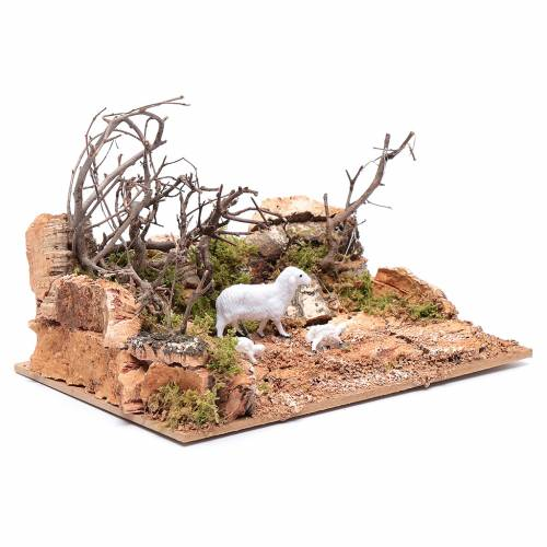 Ambientación paisaje con ovejitas 10x20x15 cm s3