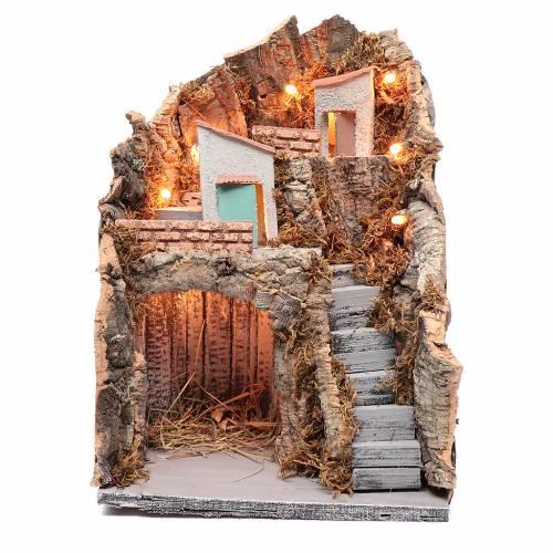 Ambientazione in stile rustico presepe napoletano 35x25x20 cm s1