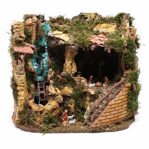 Capanne Presepe e Grotte: Ambientazione mulino e natività 30x35x25 cm