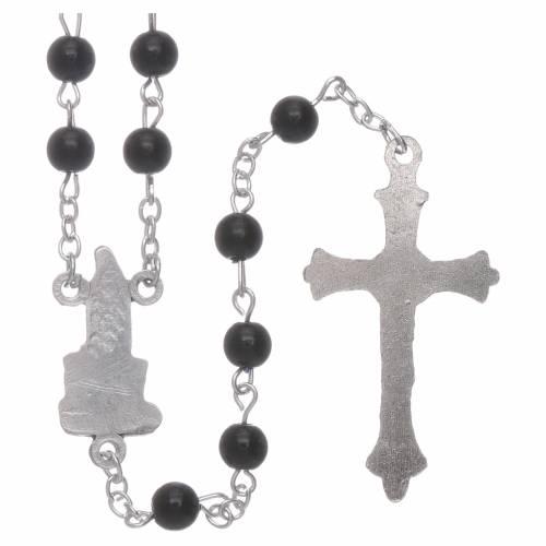 Rosario Madonna di Fatima similperla nera 6 mm s2