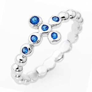 AMEN Beads Ring White silver 925, blue zircons s1