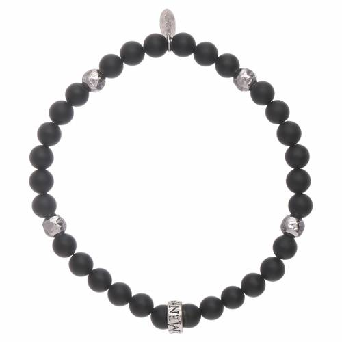AMEN black onyx 925 sterling silver bracelet with insert s2