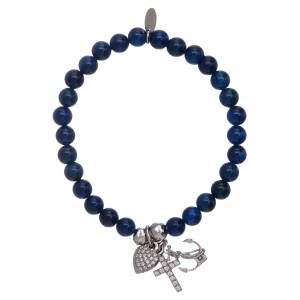 AMEN bracelets: AMEN blue 925 sterling silver bracelet with 5 mm beads, Faith, Hope and Charity