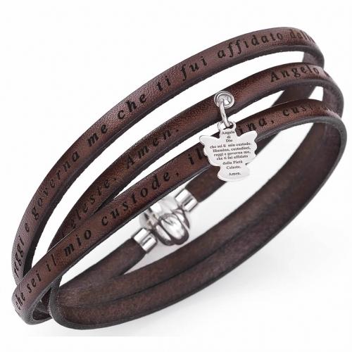Amen bracelet, Angel of God in Italian, brown charm s2