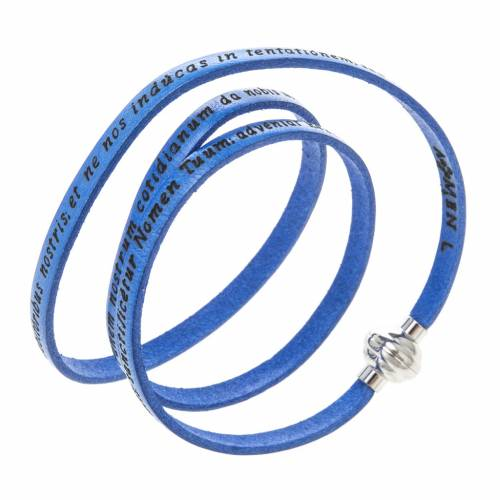 Amen Bracelet in blue leather Our Father LAT s1