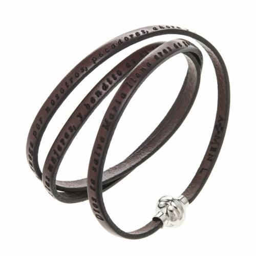 Amen Bracelet in brown leather Hail Mary SPA s1