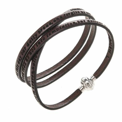 Amen Bracelet in brown leather Our Father ENG s1