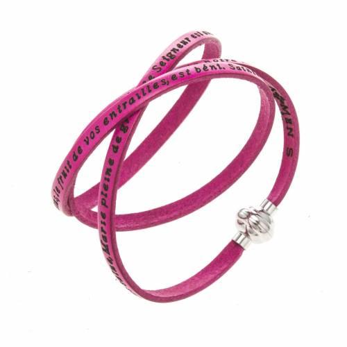 Amen Bracelet in fuchsia leather Hail Mary FRA s1