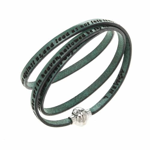 Amen Bracelet in green leather Our Father ENG s1