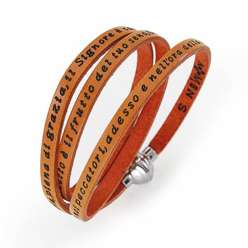 Amen Bracelet in orange leather Hail Mary ITA s1
