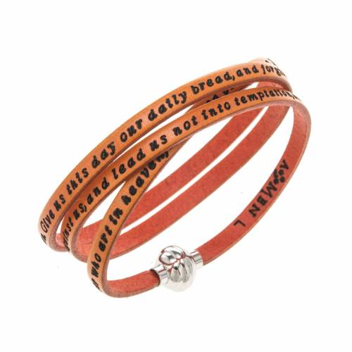 Amen Bracelet in orange leather Our Father ENG s1