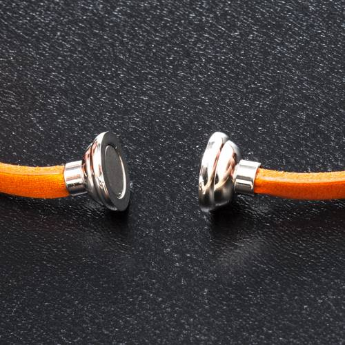 Amen Bracelet in orange leather Our Father ENG s2