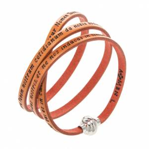 Amen Bracelet in orange leather Our Father LAT s1