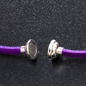 Amen Bracelet in purple leather Our Father ENG s2