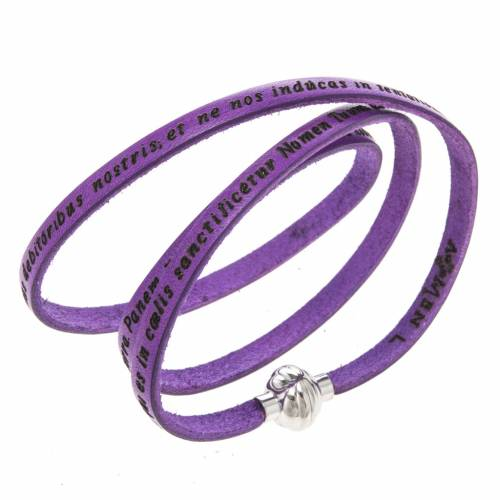 Amen Bracelet in purple leather Our Father LAT s1