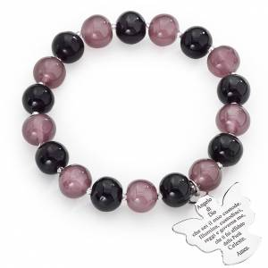 Amen bracelet in purple Murano beads 10mm, sterling silver s1