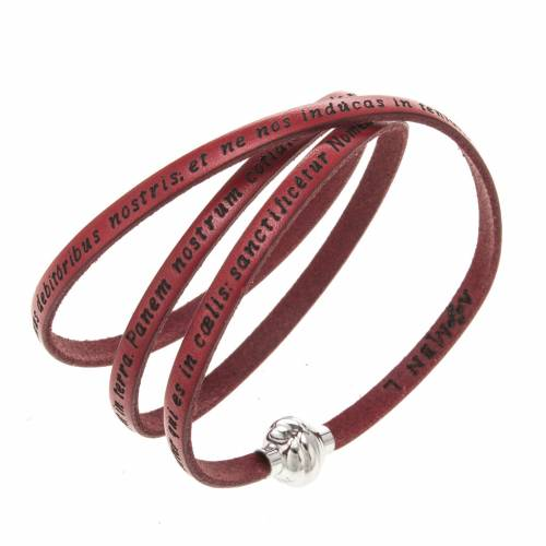 Amen Bracelet in red leather Our Father LAT s1