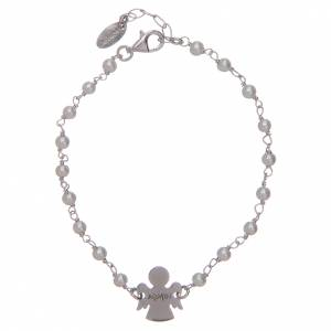 Gold and silver bracelets: Amen bracelet in silver with beads and angel