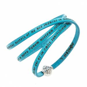 Amen Bracelet in turquoise leather Our Father LAT s1